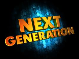 Next Generation Concept - Golden Color Text on Dark Blue Digital Background.