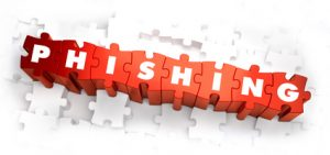 Phishing - White Word on Red Puzzles on White Background. 3D Render.